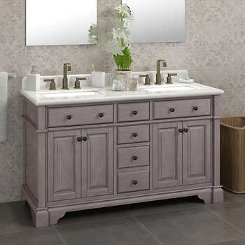 Casanova 60 Antique Gray Double Sink Vanity By Lanza