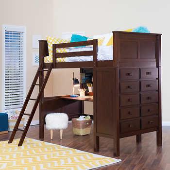 Kenai Brown Twin Study Loft Bed