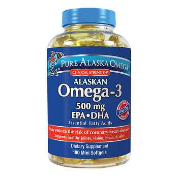 Pure alaska omega 3 500 mg epa dha 180 softgels for Omega 3 fish oil costco