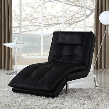 Vienna bonded leather chaise lounger black for Bonded leather chaise