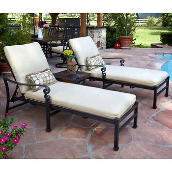 Meridian 3 piece patio chaise lounge set for Chaise lounge costco