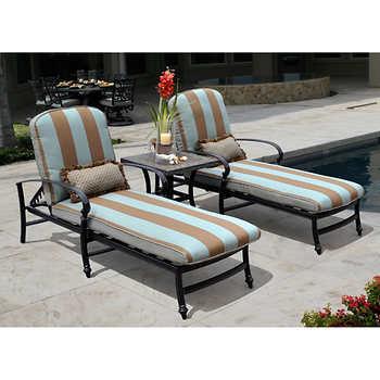 Monte cristo 3 piece patio lounge set for Chaise lounge costco