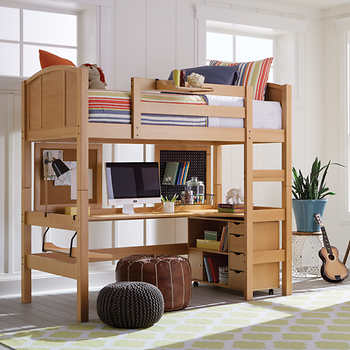 Radia Twin Study Loft Bed Natural