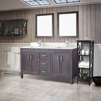 Corniche 60 French Gray Double Sink Vanity By Studio Bathe