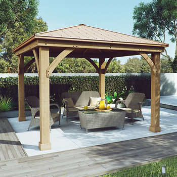 Cedar wood 12 39 x 12 39 gazebo with aluminum roof by yardistry for Pergola aluminum x
