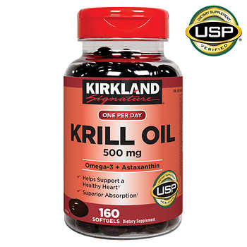 Kirkland signature krill oil 500 mg 160 softgels for Is krill oil the same as fish oil