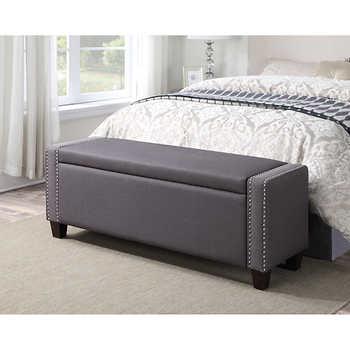 mirabella storage bench in slate grey
