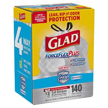 Glad Forceflex Tall Kitchen Trash Bags 13gal White 140ct
