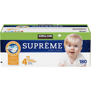kirkland signature supreme diapers size 4 180ct. Black Bedroom Furniture Sets. Home Design Ideas