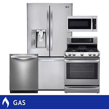 LG 4 Piece GAS Stainless Steel 24CuFt Counter Depth French Door Ultra Capacit
