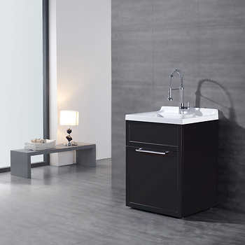 Utility Sink With Vanity : Daisy Espresso Vanity-style Utility Sink with Faucet by Ove D?cor