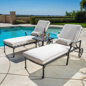 Carmen 3 piece chaise lounge set for Chaise lounge costco