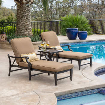 Broadway 3 piece chaise lounge set for Chaise lounge costco