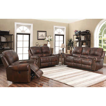 Westmont 3 piece top grain leather power reclining set - Costco leather living room furniture ...