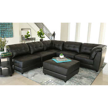 Erica 6 piece top grain leather modular sectional black for Modular living room furniture