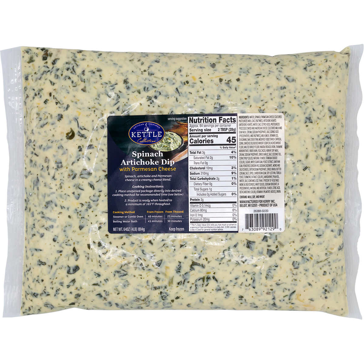 Kettle Collection Spinach Artichoke Dip With Parmesan Cheese 4 Lbs