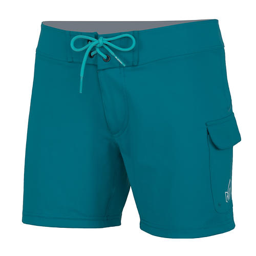 nrs women's beda board shorts - closeout- Save 36% Off - The NRS Women's Beda Board Short is much more than a glorified swimsuit. It's comfortable for long days on the water, functional to meet the specific demands of boaters, and tough enough to withstand serious adventures.    Supple, 4-way stretch Element(TM) material is soft against the skin.   Nylon/spandex fabric dries quickly.  Lace-up and zippered fly for easy on and off.  Self-draining, zippered side pocket also has a hook-and-loop security flap.  Non-stretch SupplexA(R) interior waistband keeps the shorts in place even during a rough swim.  5