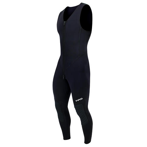 NRS Men's HydroSkin Farmer John - Closeout: Save 50% Off - The HydroSkinA(R) Farmer John gives you the freedom and comfort you can't get from 3mm neoprene.  A great piece to wear alone or as a layer on those chilly days in cold water.    A thermal core of 0.5-mm neoprene provides insulation.    HydroSkin has the added benefit of 4-way stretch PowerSpan(TM) for added mobility and comfort.    Titanium laminated adhesive aids in body heat retention.    ThermalPlush(TM) inner lining for added comfort and quick drying.    Double-pull men's relief zipper makes life that much easier on the water.    HydroSkin is lightweight wetsuit apparel; it's designed for a snug form fit that restricts water entry and locks in your body's warmth.  Padded knees and shins reinforce that high wear area and give added protection against collision.