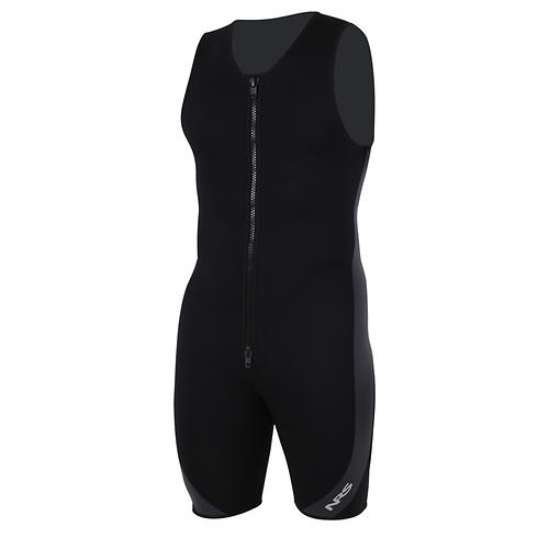 nrs little john wetsuit - closeout- Save 50% Off - The NRS Little John Wetsuit gives you a great combination of warmth and comfort. The shorty cut allows more freedom of movement, while 2-mm neoprene provides essential core insulation.  Lightweight, stretchy 2mm Terraprene(TM) neoprene keeps you warm in cooler conditions without unnecessary bulk.   Generous armholes give you excellent range of motion.  Durable flat-lock seams lie flat on your skin for greater comfort.  The extra-long, double-pull YKKA(R) front relief zipper makes it easy to
