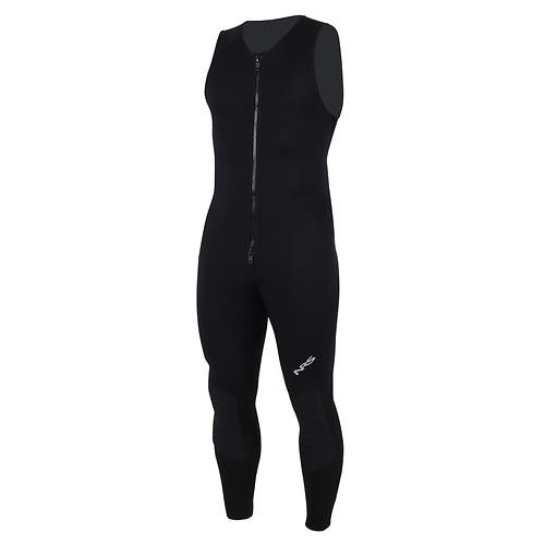 nrs 2.0 farmer john wetsuit - closeout- Save 29% Off - Sometimes less is more. The NRS 2.0 Farmer John Wetsuit provides the perfect amount of protection for cooler conditions without the bulk or restrictiveness of many thicker suits.  Lightweight, stretchy 2 mm Terraprene(TM) neoprene keeps you warm in cooler conditions without unnecessary bulk.  Generous armholes give you excellent freedom of movement.  Durable flat-lock seams lie flat on your skin for greater comfort.  Titanium laminate adhesive reflects heat back to your body, keeping you warmer.  The extra-long, double-pull YKKA(R) front relief zipper makes it easy to