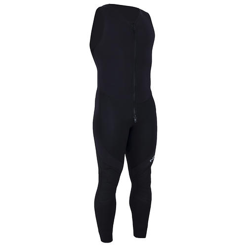 nrs 3.0 farmer john wetsuit - closeout- Save 29% Off - The NRS 3.0 Farmer John Wetsuit is a staple of gear bags around the world. Our most popular wetsuit, it provides excellent comfort and warmth at a price that won't break the bank.  3 mm Terraprene(TM) neoprene for outstanding warmth.  4-way stretch PowerSpan(TM) in the chest down to the belt line and along the sides adapts to your movements for unrestricted range of motion and improve fit.  Generous armholes give you excellent freedom of movement.  Durable glued and blind-stitched seams reduce water entry and are smooth and comfortable against the skin.  Titanium laminate adhesive reflects heat back to your body, keeping you warmer.  The extra-long, double-pull YKKA(R) front relief zipper makes it easy to