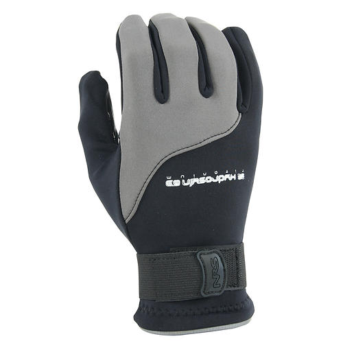 NRS HydroSkin Gloves - Closeout: Save 68% Off - When it's too cold to go gloveless, but you don't need winter protection, NRS HydroSkin Gloves will cut the chill without sacrificing grip or feel. Less bulk, total comfort, just enough extra warmth.   Great for those in-between-weather paddles, or for when the air's warm but the water's cold (or vice versa).  The 0.5 mm neoprene core layer insulates and protects without adding too much bulk.  The PowerSpan(TM) exterior stretches in four directions, allowing unrestricted use of your most important paddling equipment - your hands.  The ThermalPlush(TM) inner lining increases insulation, repels moisture and dries quickly for added comfort.  GripCote texture on the palm and fingers provides a better grip and added durability.  A water-repellent coating helps the gloves shed water, reducing evaporative cooling.  Titanium laminate adhesive reflects heat back in toward your hands making these gloves warmer than standard neoprene gloves of the same thickness.  An adjustable hook-and-loop strap secures the glove at the wrist and keeps out debris.