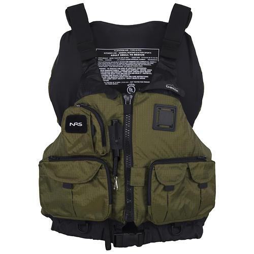 nrs chinook mesh back fishing pfd - closeout- Save 29% Off - Type III: Pockets on pockets, lots of gear attachment points, plus flotation if you swim -- what's not to like about the NRS Chinook Life Jacket? Fishermen, sea kayakers and anyone who wants a vest with lots of storage will love this PFD.  Designed with anglers in mind, the Chinook features 7 front pockets for everything from small tackle boxes to tippet.  Perfect for kayak fishing, fly fishing and extended tours!  The mesh lower back is a great fit on high-back seats and provides ventilation when the weather's warm.  The roomy front-entry design with 8 adjustment points lets you customize the fit for comfort and security.  Soft PlushFIT(TM) foam flotation conforms to your body as you wear it for unsurpassed comfort.  A coil fishing tool retractor allows you to clip on line snips, forceps or other tools that you want to have handy.  Includes a D-ring on the back for attaching your net, plus a strobe holder loop for those low light conditions.  Other outstanding features include rod holder loops, a knife lash tab, and multiple D-rings and attachment loops.  This jacket carries the US Coast Guard Certification, through testing by Underwriters Laboratories (UL).  16.5 lbs. design flotation.