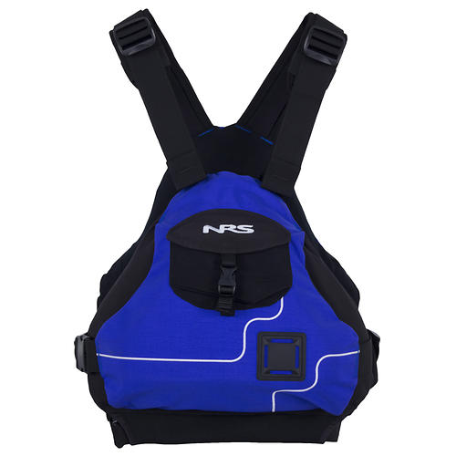 nrs ninja pfd - closeout- Save 29% Off - Type III: The low-profile NRS Ninja PFD is so comfortable, you'll forget you have it on. Designed for freestyle kayakers and other active boaters, this compact life jacket gives you total freedom of movement.  The Ninja's athletic design won't interfere with paddling, rowing or swimming.  Four side adjustments and two shoulder adjustments provide a custom fit.   Great for boaters with short torsos, who may have a difficult time wearing more conventional life vests.  Soft PVC-Free foam flotation panels are shaped for comfort.  A floating front panel adjusts to your body's shape and gives you a warm place to put your hands when it's chilly.  The side entry is secured by quick release buckles, making it easy to put on and take off.  A front mesh pocket secured with a quick release buckle holds the essentials.  The 500-denier CorduraA(R) shell wears like iron.  Soft, stretchy fabric on the inside lets the Ninja PFD flex, and enhances breathability.  One well placed lash tab holds your rescue knife.  This jacket carries the US Coast Guard Certification, through testing by Underwriters Laboratories (UL).  Design flotation: 16.5 lbs.