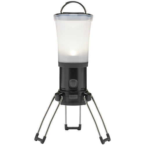 black diamond apollo lantern - closeout- Save 25% Off - Perfect for boat-in camps on the beach and car camping at the put-in, the Black Diamond Apollo Lantern puts out 200 lumens of bright, ambient, non-glaring light.   The Apollo Lantern's QuadPower LED, dual-reflector system and frosted globe crank out a bright, warm glow that evenly lights up your camp.   This battery-powered lantern features upper and lower reflectors and a frosted globe to spread the light 360 degrees, illuminating all your camp tasks.   The QuadPower LED bulb provides up to 200 lumens of glare-free light.   The unique dimming switch lets you select just the right amount of light for every situation.    The power meter clearly displays the battery level so you're not left in the dark unexpectedly.    Distinctive fold-down legs increase lantern height to 9.5 inches (24 cm), maximizing light dispersion.   The collapsible double-hook hang loop lets you suspend the Apollo from a tree branch, River Wing pole or loop inside your tent.   The lantern uses four alkaline AA batteries, not included. It's also compatible with rechargeable NRG battery kits.