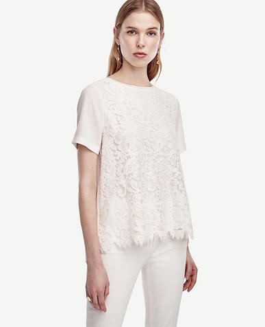 Image of Lacy Matte Jersey Tee color Winter White
