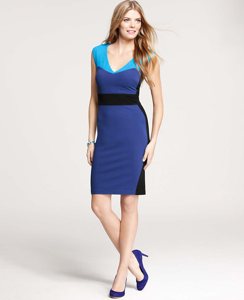 Ponte Colorblocked Sheath Dress