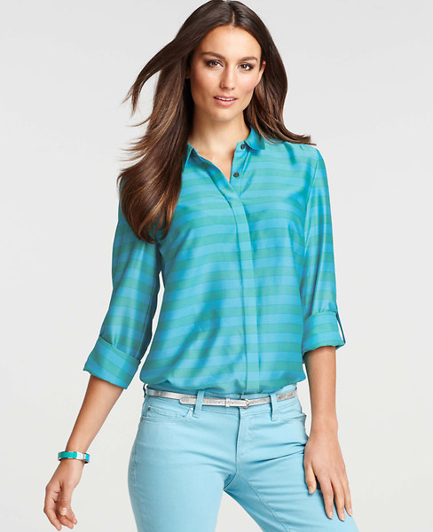 Ann Taylor Alpine Stripe Camp Shirt