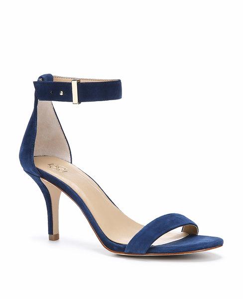 Ann Taylor Geri Suede Ankle Strap Heels, Lapis Blue - Size 11