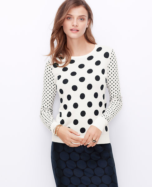 Ann Taylor Polka Dot Sweater, Winter White - ExtraLarge