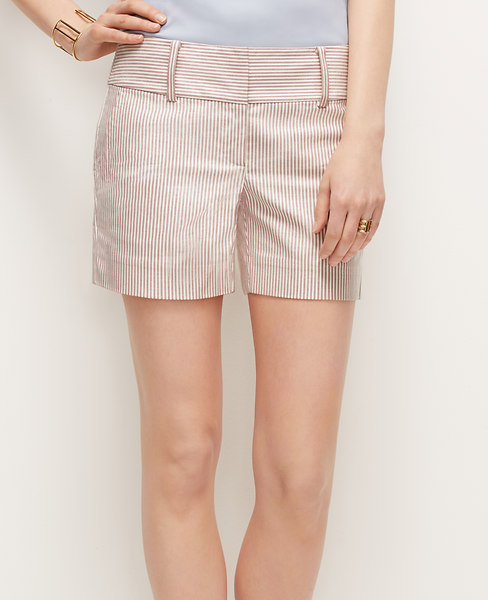 Ann Taylor Petite Stripe City Shorts, Pink Stripe - Size 0