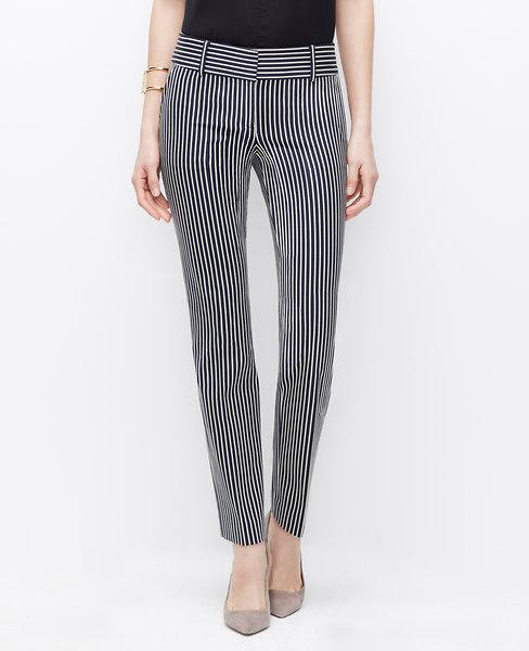 Ann Taylor Modern Striped Ankle Pants, Dark Sky - Size 2