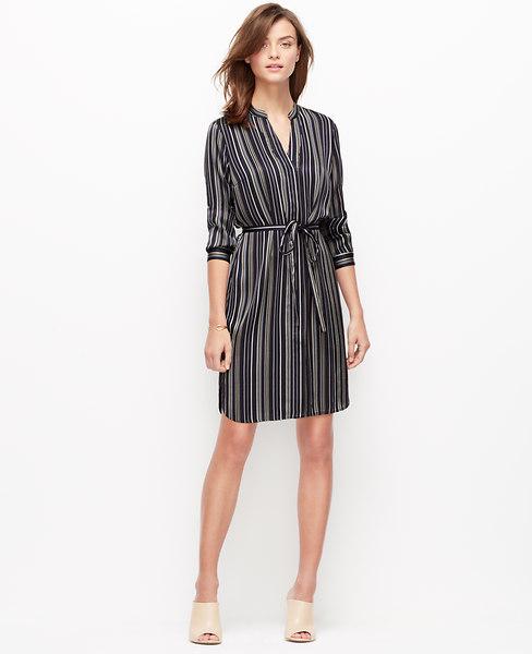 Ann Taylor Petite Fine Stripe Shirtdress, Dark Sky - Small