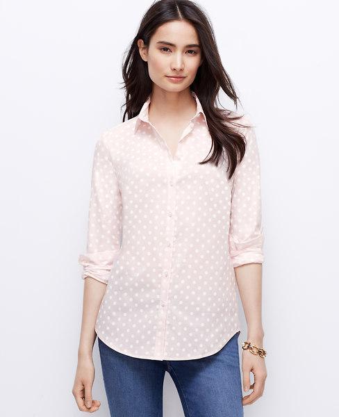 Ann Taylor Polka Dot Perfect Shirt, Pretty In Pink - Size 14