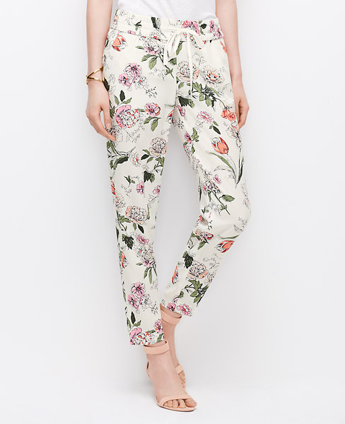 Ann Taylor Floral Drawstring Ankle Pants, Bright Begonia - Size 2