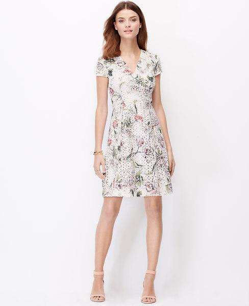 Ann Taylor Petite Floral Eyelet Dress, Bright Begonia - Size 0