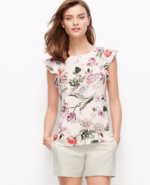 Ann Taylor Floral Flutter Sleeve Top, Winter White - Small