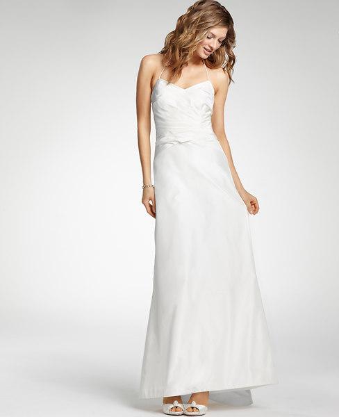 Silk Taffeta Halter Wedding Dress