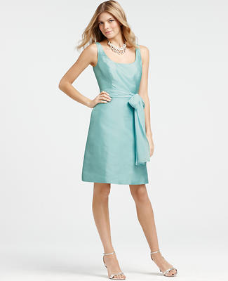 Silk Dupioni Scoop Neck Dress