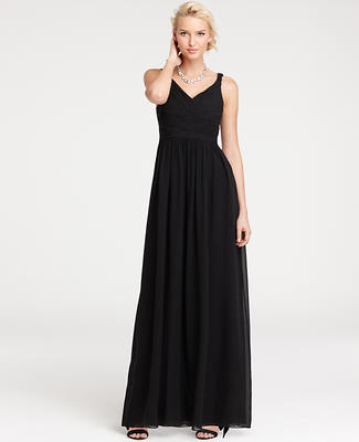 Silk Georgette V-Neck Gown