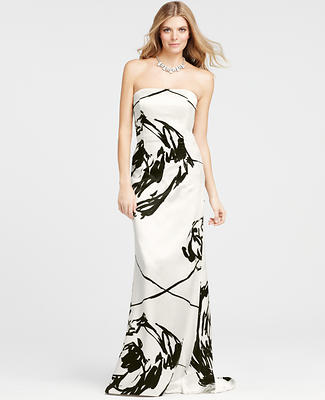Floral Brush Print Strapless Gown