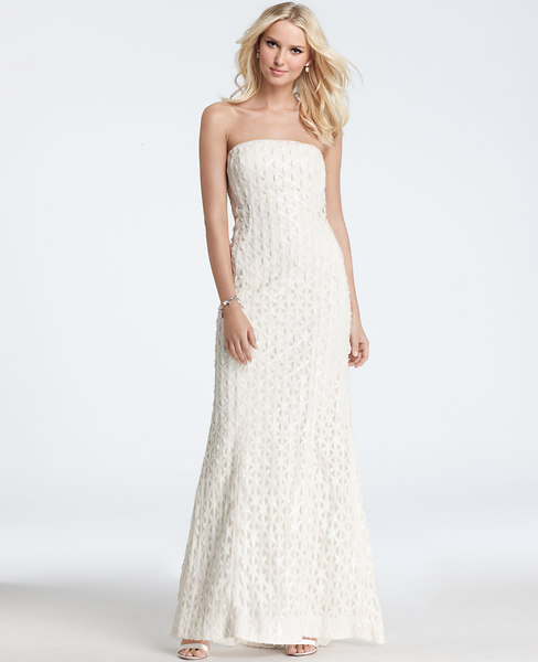 Geometric Embroidered Sequin Strapless Wedding Dress