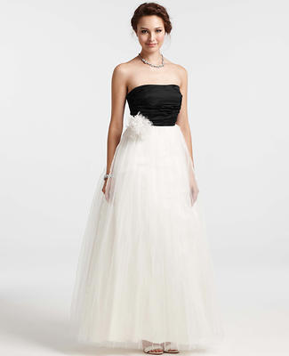 Pleated Tulle Strapless Wedding Dress