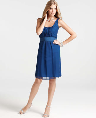 Silk Georgette Draped Scoop Neck Dress