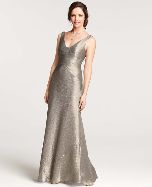 Gold Lame V-Neck Gown