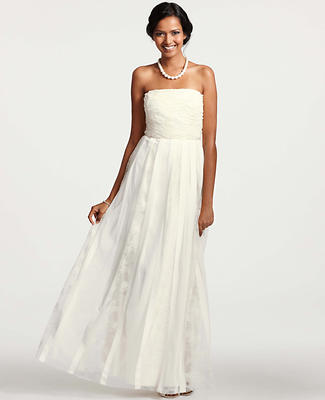 Grosgrain Ribbon Strapless Wedding Dress